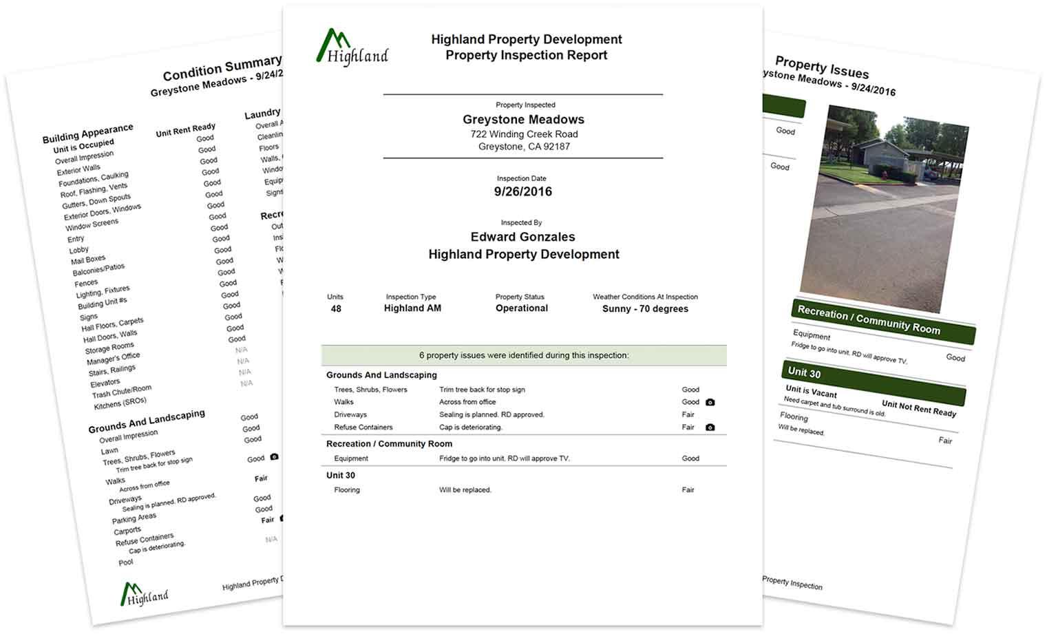 Highland Property Development website screenshots